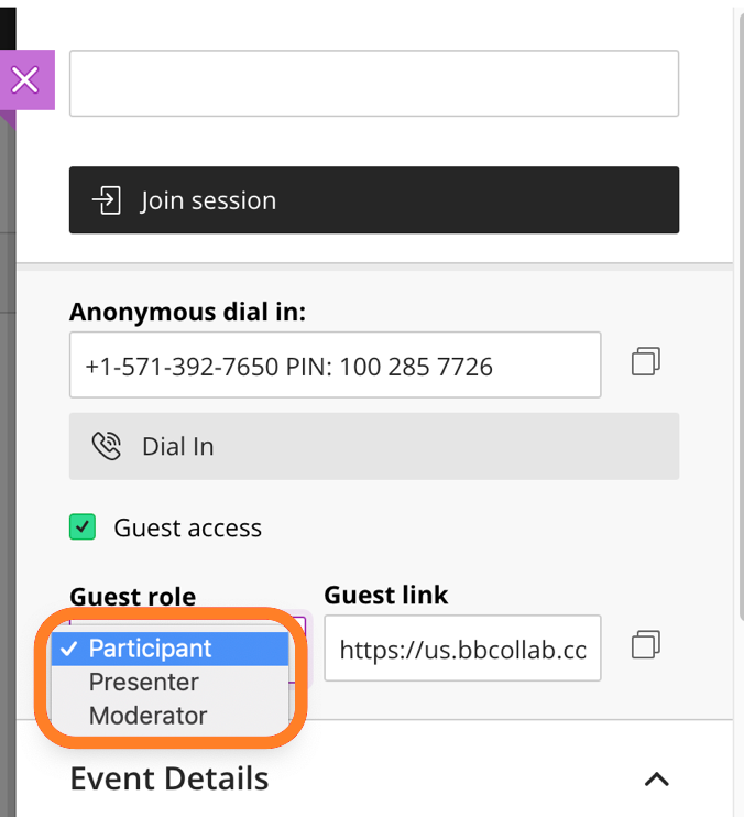 Dropdown menu that lets you change the Guest Role from Participant to Moderator or Presenter