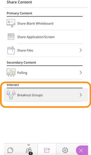 Select Breakout Groups option under Share Content