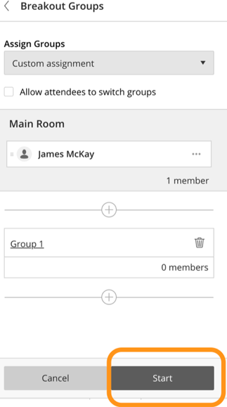 The Start button you click once you have created the breakout groups you want