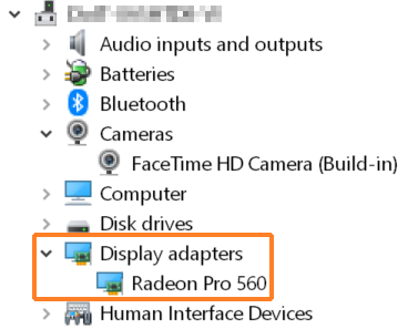"A screenshot showing the Windows Device Manager with ""Display adapters"" expanded and outlined in orange to help point it out."