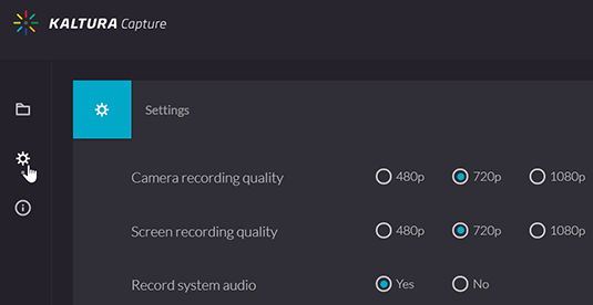 "A screenshot  showing the Kaltura Capture settings and a detail for the options to set the ""Camera recording quality"" and ""Screen recording quality""."