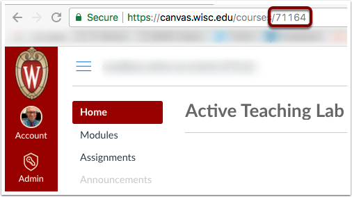 Canvas Number is located in course URL