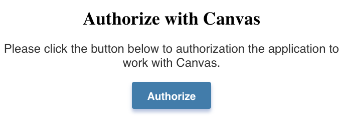 Button for authorizing the Atomic Assessments link in Canvas
