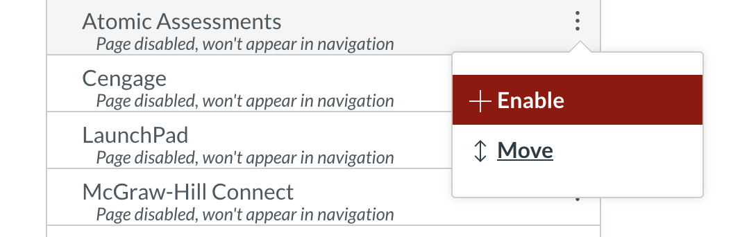 Enabling a hidden item in the Canvas navigation