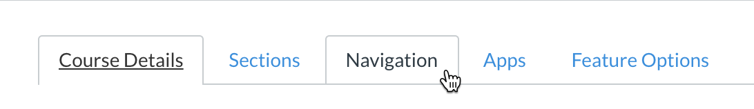 Canvas's course settings with mouse hovering over navigation tab