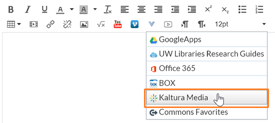 "A screenshot showing the Canvas Rich Content Editor window. The blue ""V"" button has been clicked to display the ""External Tools"" drop-down menu. The cursor hovers over ""Kaltura Media"" which has been outlined in red to help point it out."