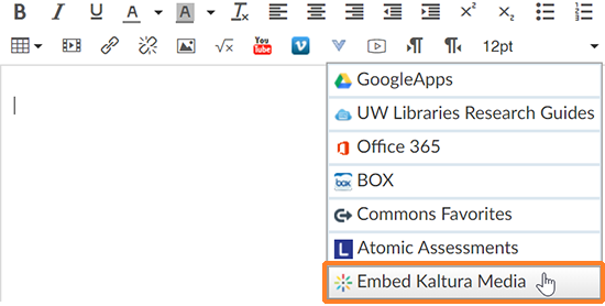 "A screenshot of a user having clicked on the External Tools button in the Canvas Rich Content Editor. The cursor hovers over ""Embed Kaltura Media"" which is outlined in orange to help point it out."