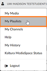 "A screenshot showing the Kaltrua user drop-down menu. The cursor hovers over the ""My Playlists"" menu option which is outlined in orange to help point it out."
