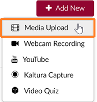 "A screenshot showing the ""Add New"" drop-down menu opened. The cursor hovers over ""Media Upload"" which is outlined in orange to help point it out."