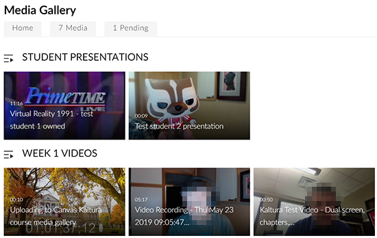 "A screenshot showing a Canvas course media gallery. Two playlists display - one for ""Student presentations"" and another for ""Week 1 Videos""."