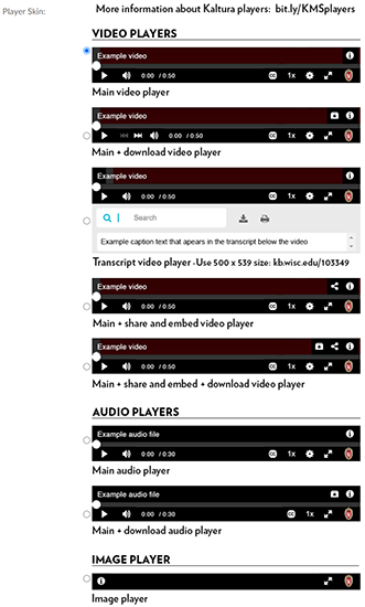 A screenshot of the Kaltura MediaSpace Share->Embed user-selectable embeddable players.