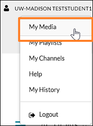 "Screenshot showing the user having clicked their user icon in Kaltura MediaSpace with the cursor hovering over the drop-down menu option ""My Media""."