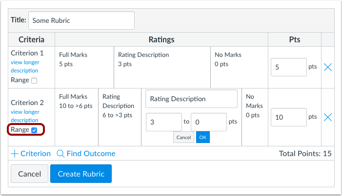 Rubric Range Check Box