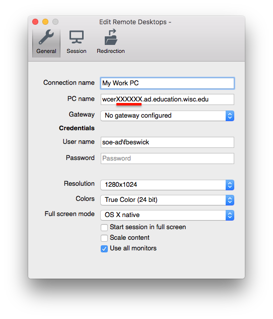 Configure the Connection settings