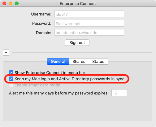 Keep passwords in sync