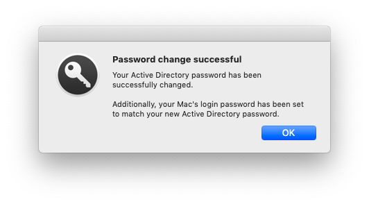 Password successful & synced