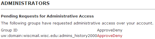 administrators request screen