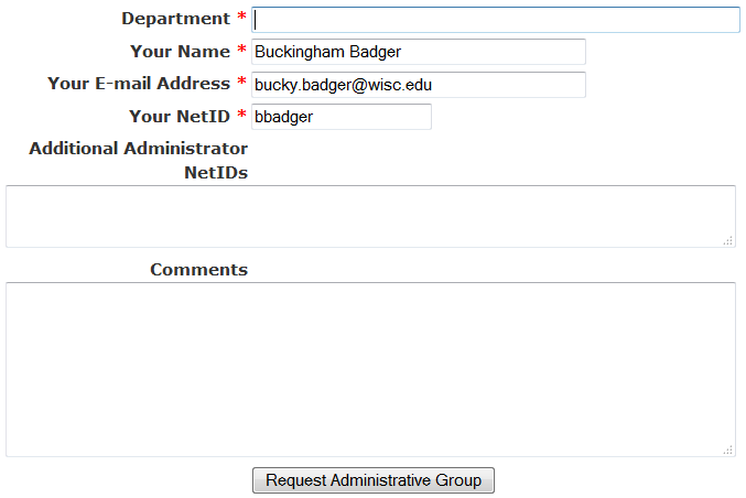 request group administrative access screen