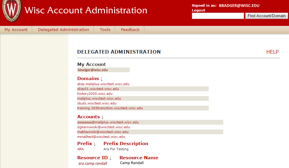 Delegated Administration interface