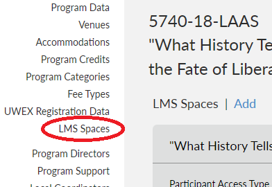 "screenshot showing where to find ""LMS Spaces"" link on the Program Detail page"