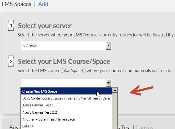 screenshot after selecting Canvas as the server, with expanded dropdown with list of existing spaces
