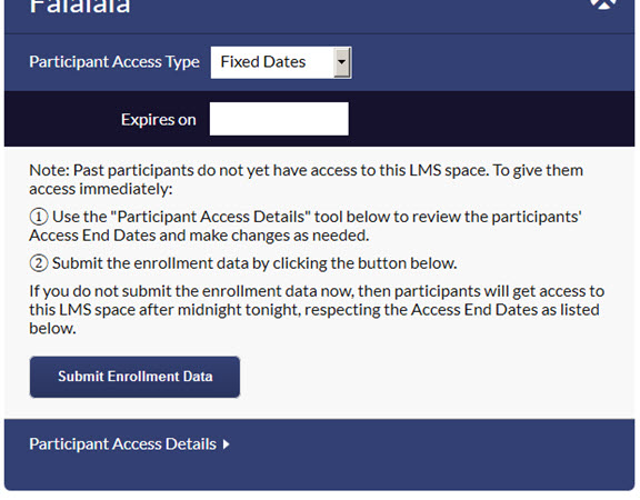 screenshot of the message that appears after selecting an existing LMS space, allowing you to decide when and which any past program participants should get access to this space