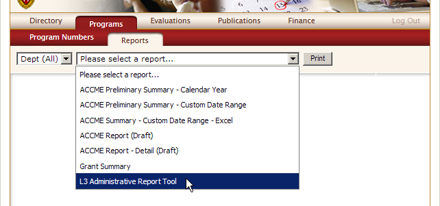 screenshot of navigation to the report