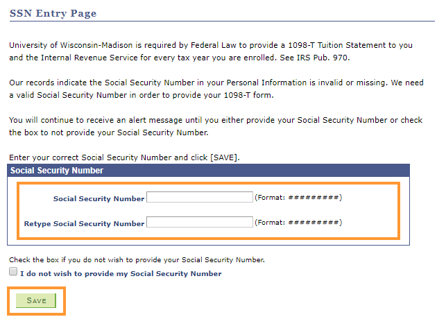 Enter and retype your SSN