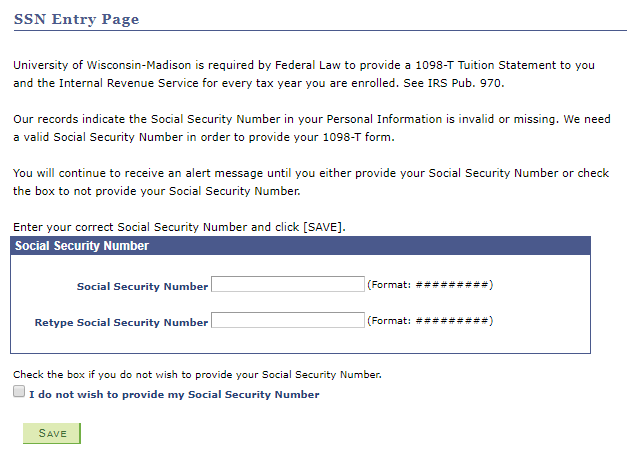 Social Security Number screen