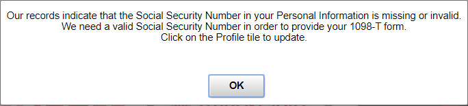 Enter SSN popup message