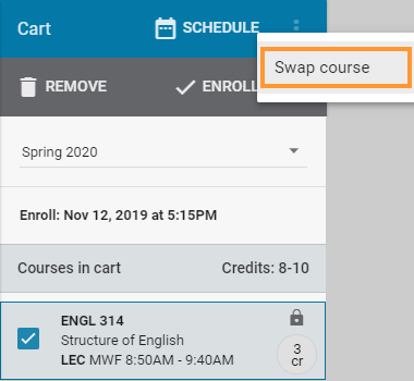 Select the swap course button