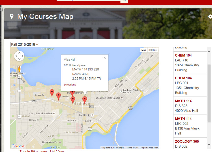 My Courses Map navigation