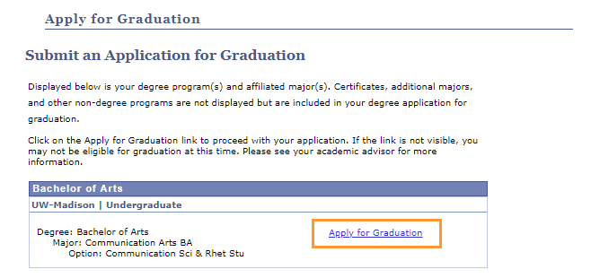 Begin an Application for Graduation