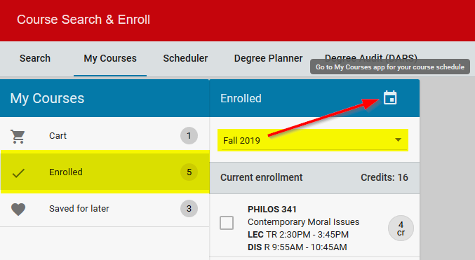 Course Search & Enroll - My Courses