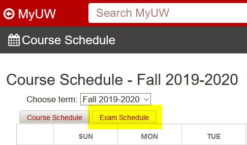 MyUW: Course Schedule- Exam