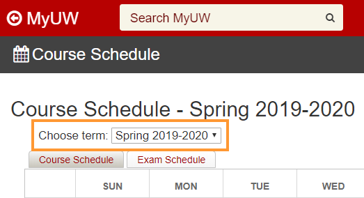 MyUW: Course Schedule- Choose term