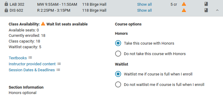 Course options: honors and waitlist