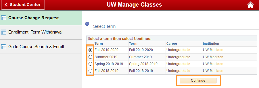 Course change request page