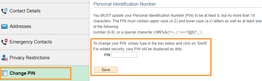 Change PIN number