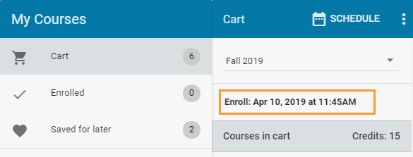 Enrollment time in cart