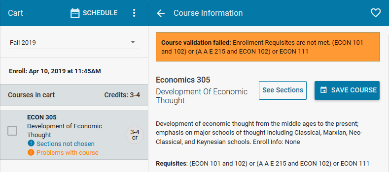 Course validation failed message