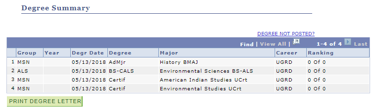 View My Degrees summary