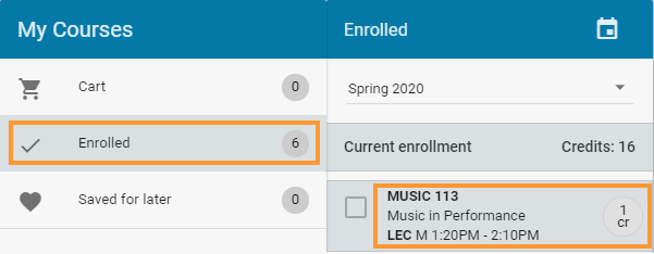 Select enrolled course