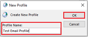 Create a descriptive name for the new mail profile.