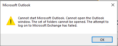 Cannot start Microsoft Outlook. Cannot open the Outlook window. The set of folders cannot be opened. The attempt to log on to Microsoft Exchange has failed.