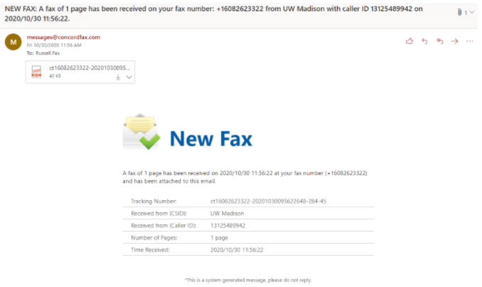 Email Fax Recipient Gets