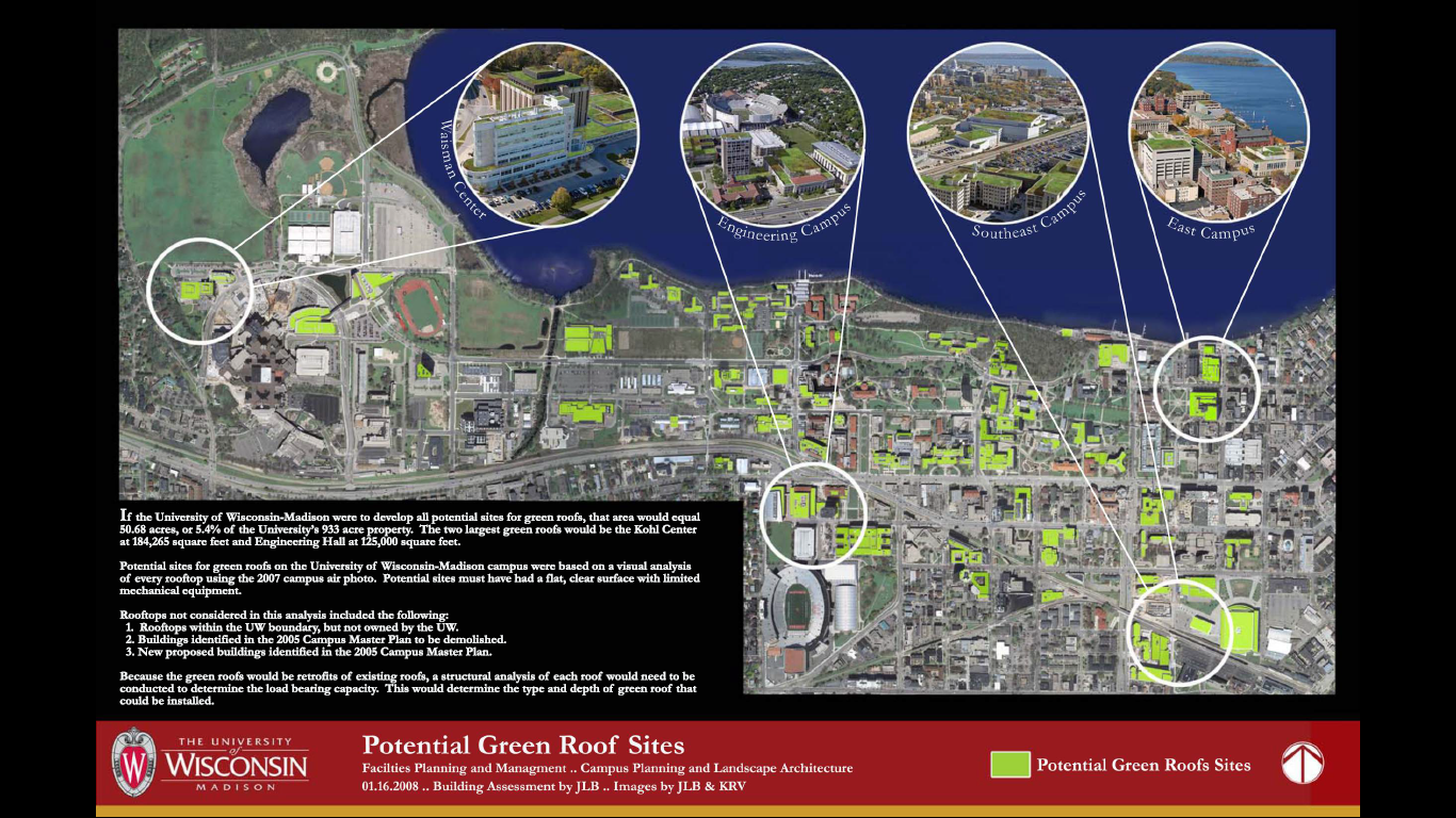 Potential Green Roof Sites at UW-Madison