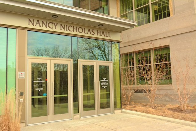 This images shows the main door of Nancy Nicholas Hall.