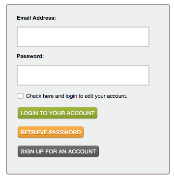 Online Registration login screen