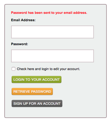 Screenshot of Password has been sent message.